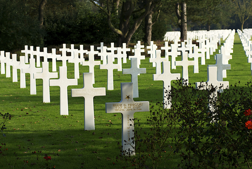 Grave of Frank D. Peregory, Medal of Honor recipient, killed June 14, 1944 among hundreds of grave markers going off into the distance