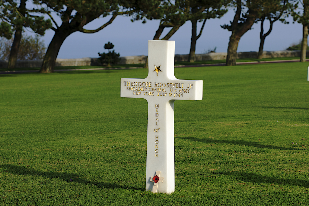 Grave of Theodore Roosevelt, Jr., Brigadier General, Medal of Honor recipient, killed July 12, 1944, sits alone with a view of the cliffs and ocean