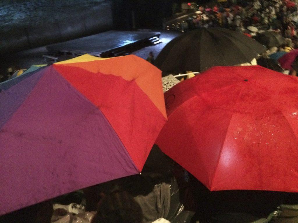 Umbrellas UP during intermission