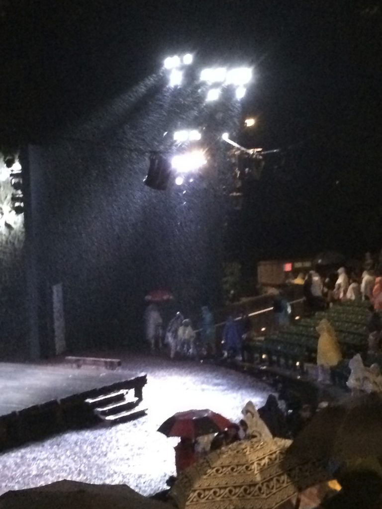 rain shows strong in theater lights