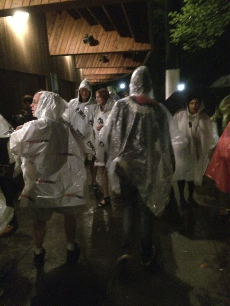 guests in Public Theater ponchos