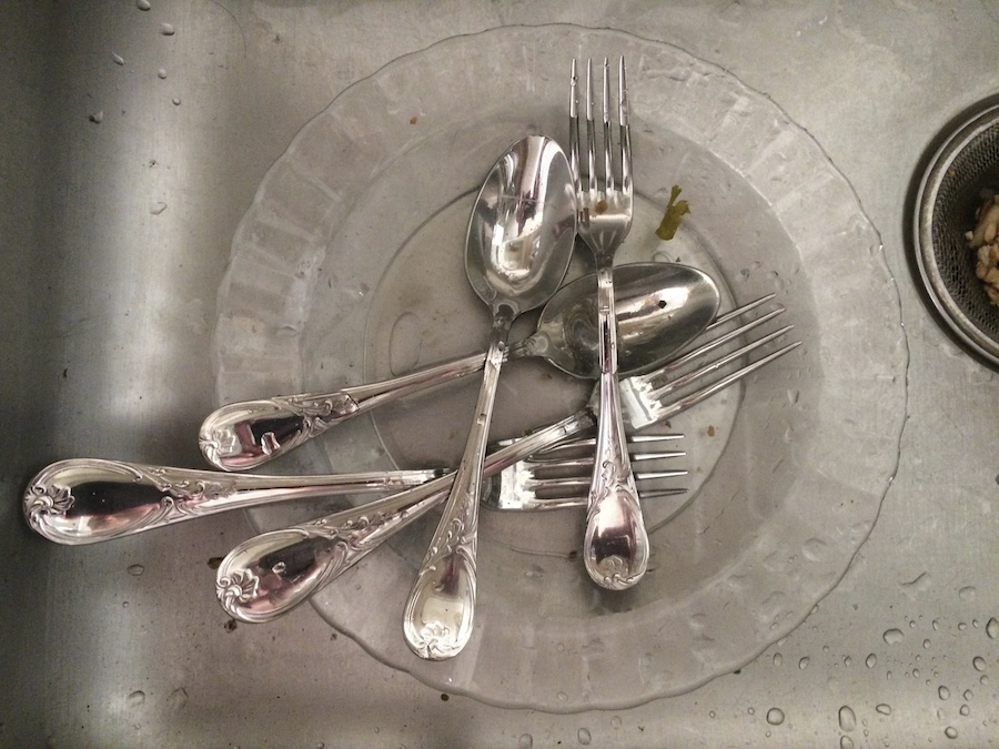 silverware in sink