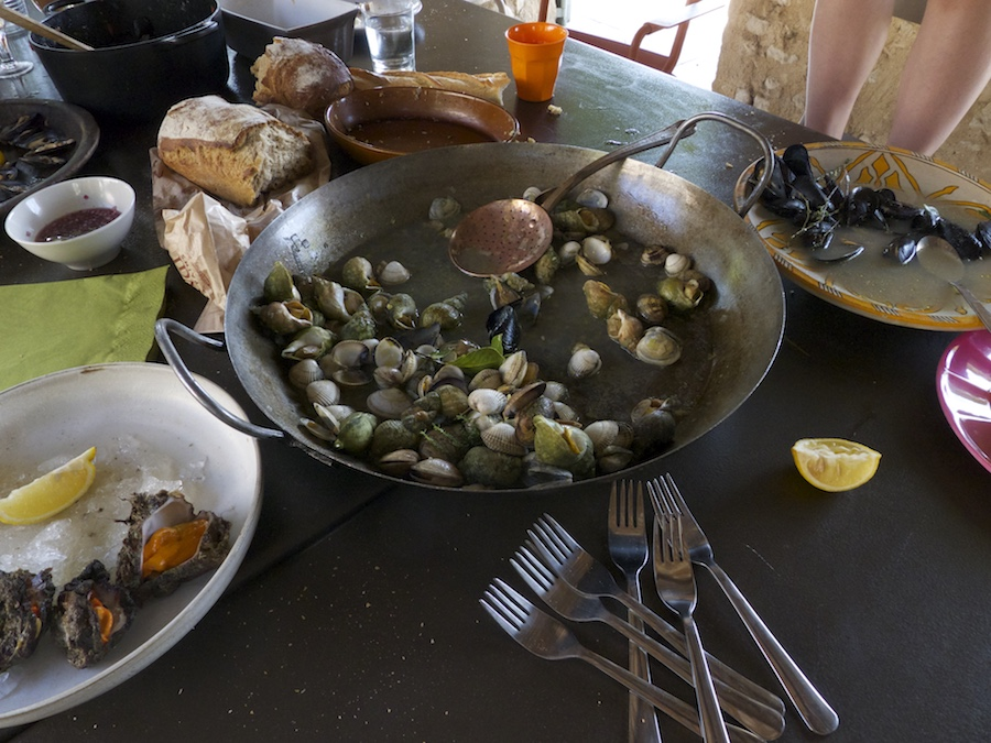 Chef John Besh's table of seafood shells, La Provence, France