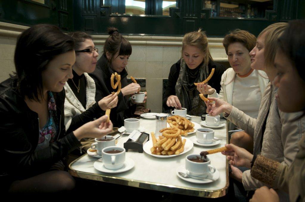 Spain, 2009 Chocolateria San Jinez, hot chocolate and churros (fried dough) is a Madrid delicacy