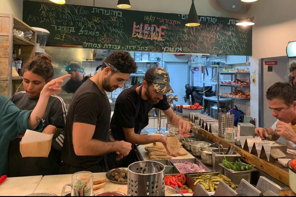 Preparing food at Miznon, Tel Aviv